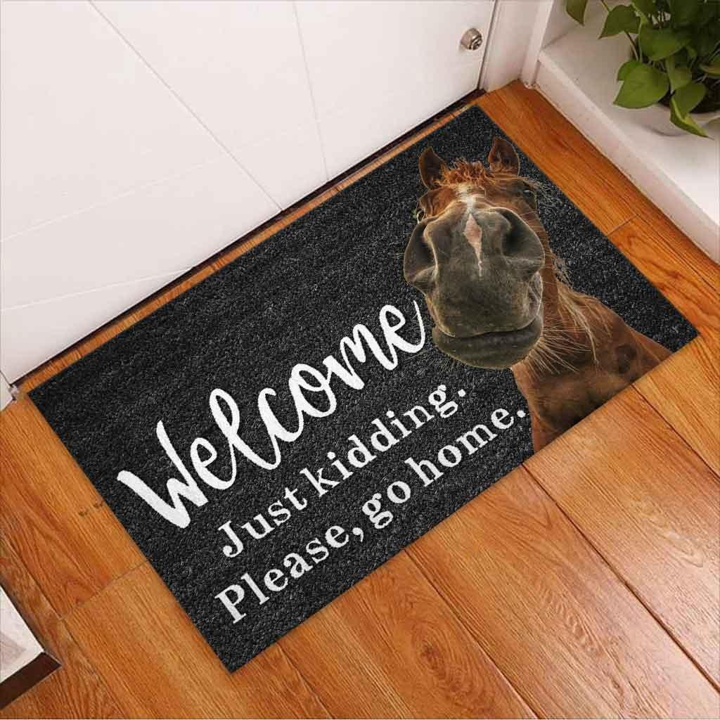 Horse welcome just kidding please go home doormat3 1