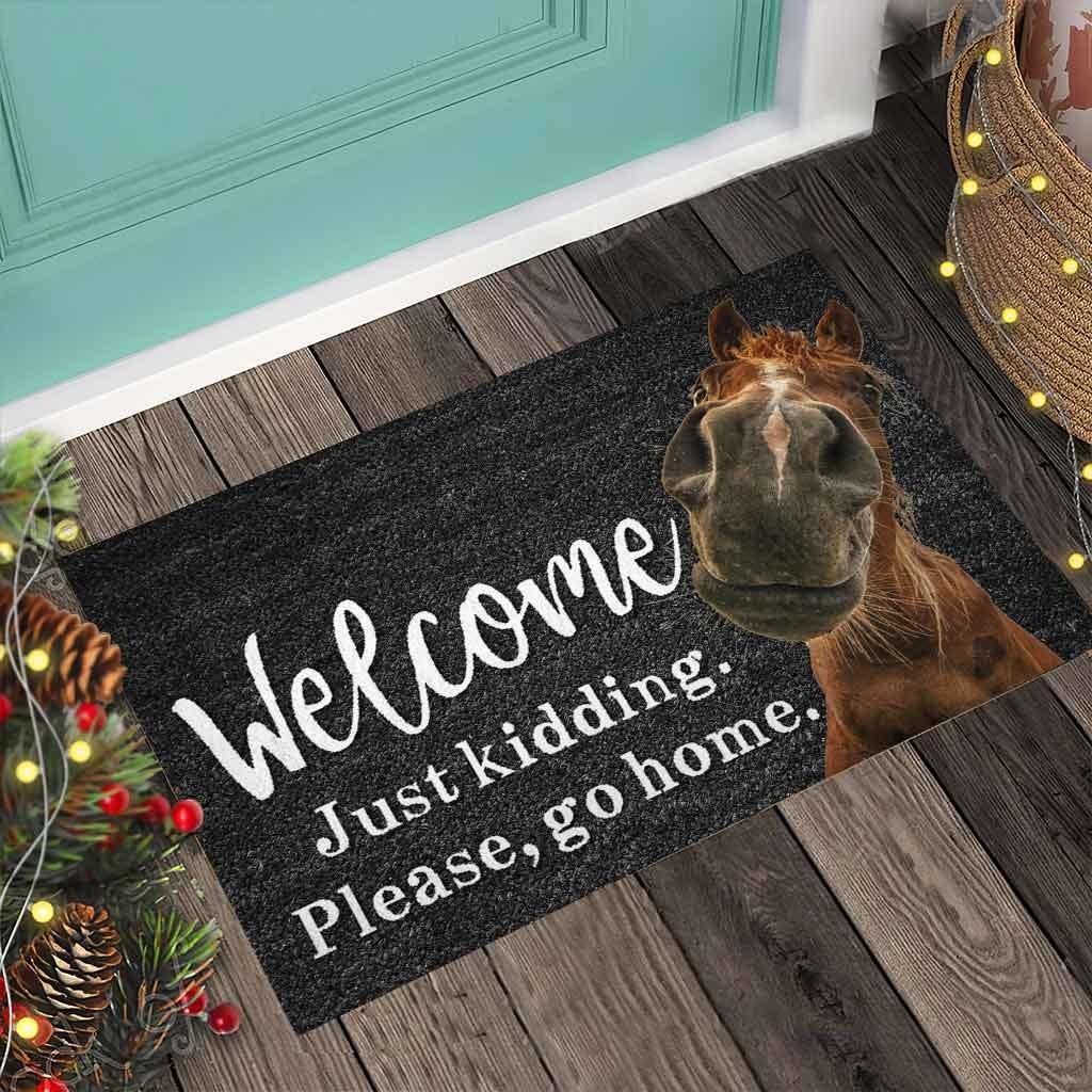 Horse welcome just kidding please go home doormat4 1