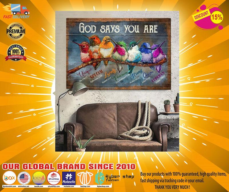 Hummingbird God says you are canvas3