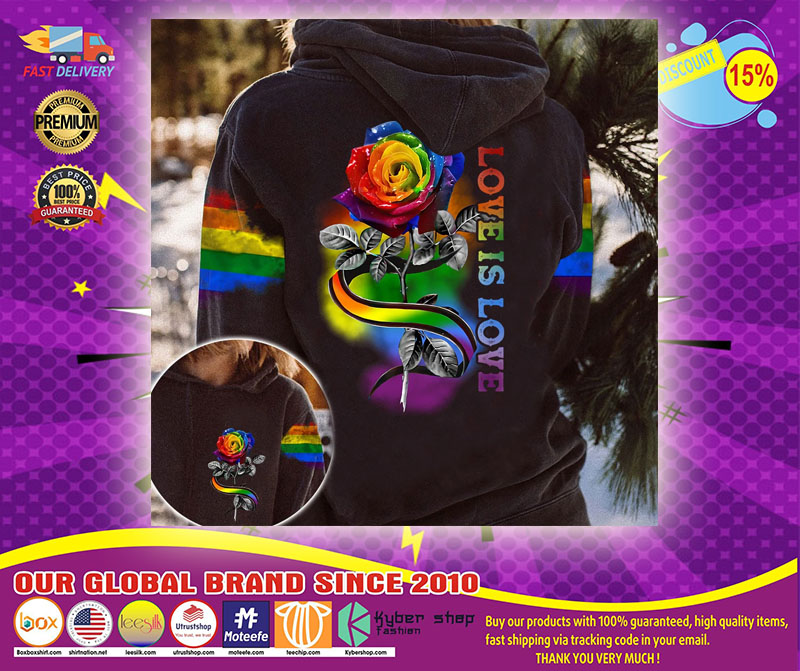 LGBT rose love is love 3D hoodie1