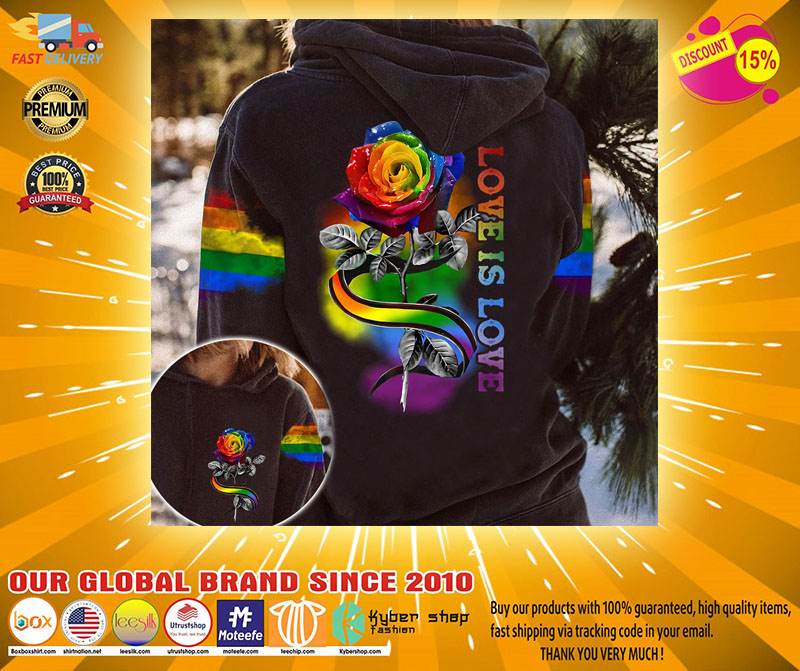 LGBT rose love is love 3D hoodie2
