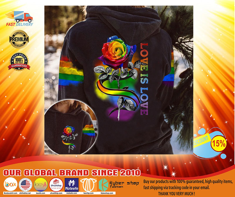 LGBT rose love is love 3D hoodie3