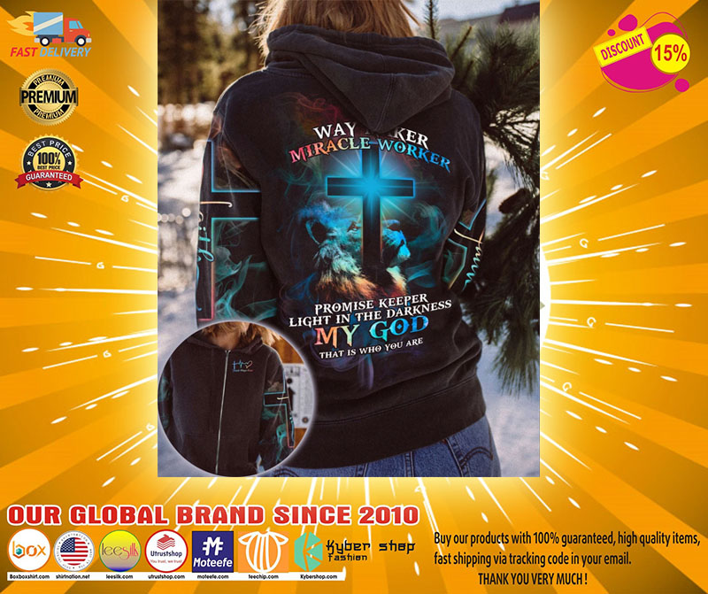 Lion and cross way maker miracle worker 3D hoodie shirt2