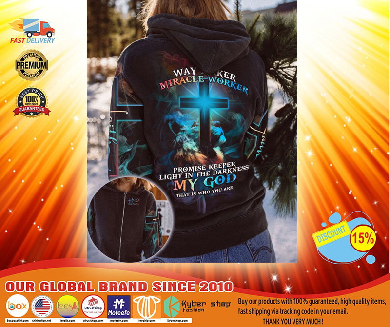 Lion and cross way maker miracle worker 3D hoodie shirt3