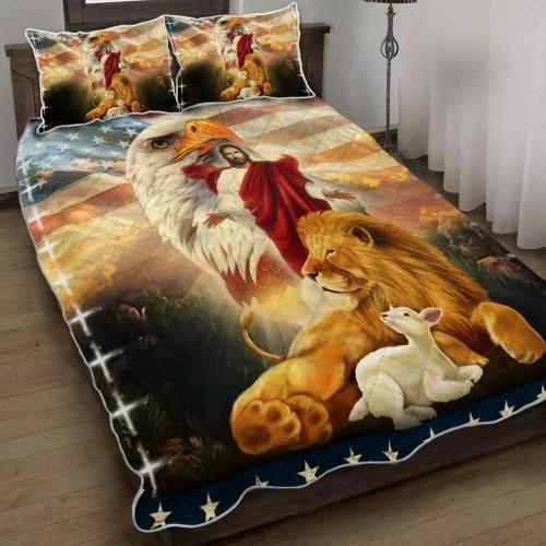 Lion and lamb eagle Jesus bedding set