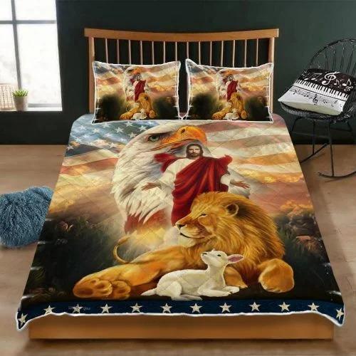 Lion and lamb eagle Jesus bedding set2