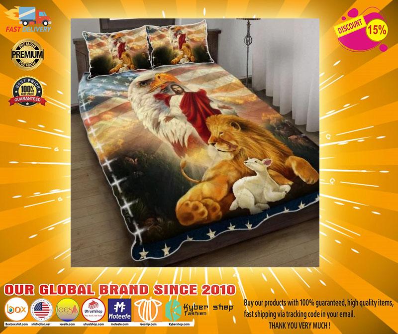 Lion and lamb eagle Jesus bedding set4