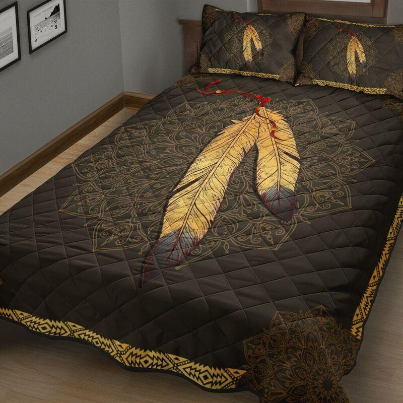 Native American Indian feathers quilt bedding set4
