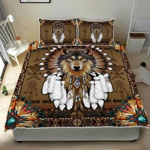 Native American wolf spirit quilt bedding set3