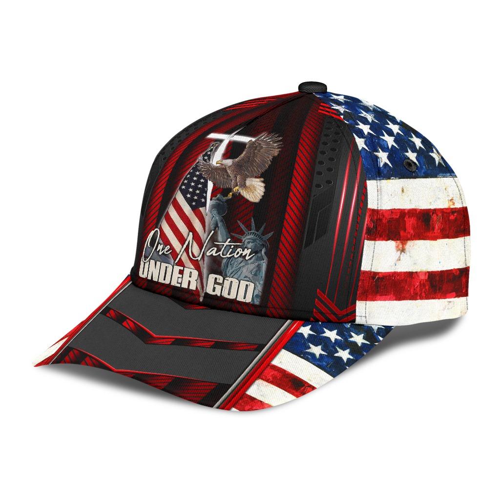 One nation under god eagle American flag classic cap2