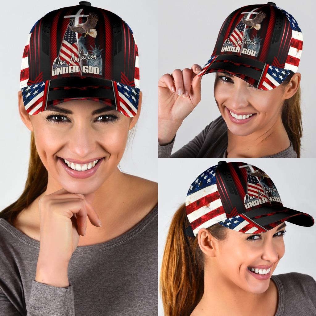 One nation under god eagle American flag classic cap3