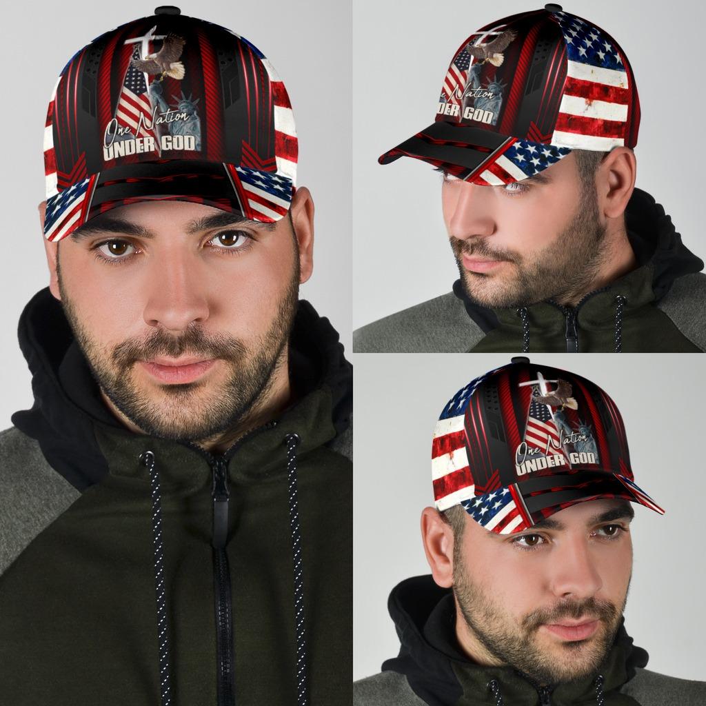 One nation under god eagle American flag classic cap4