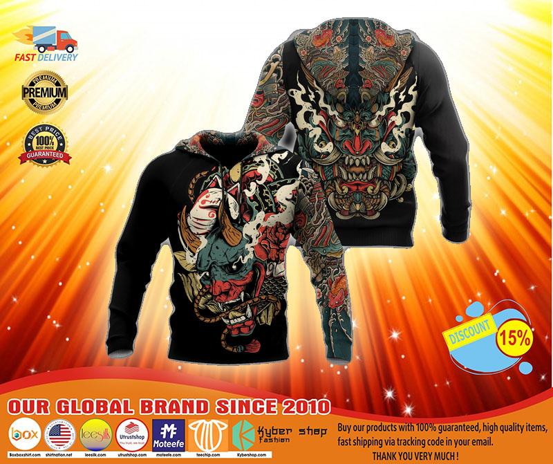 Oni mask tattoo 3D hoodie3