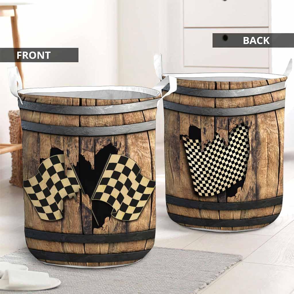 Racing faux wood print basket laundry2