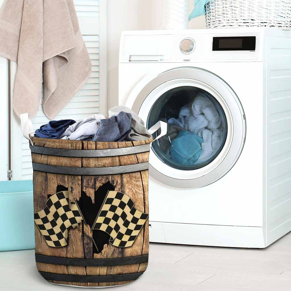 Racing faux wood print basket laundry3