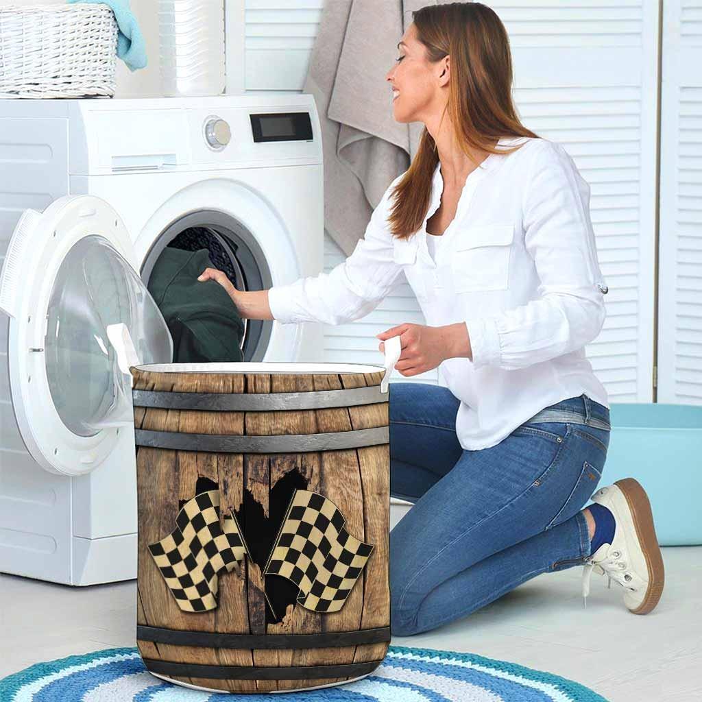 Racing faux wood print basket laundry4