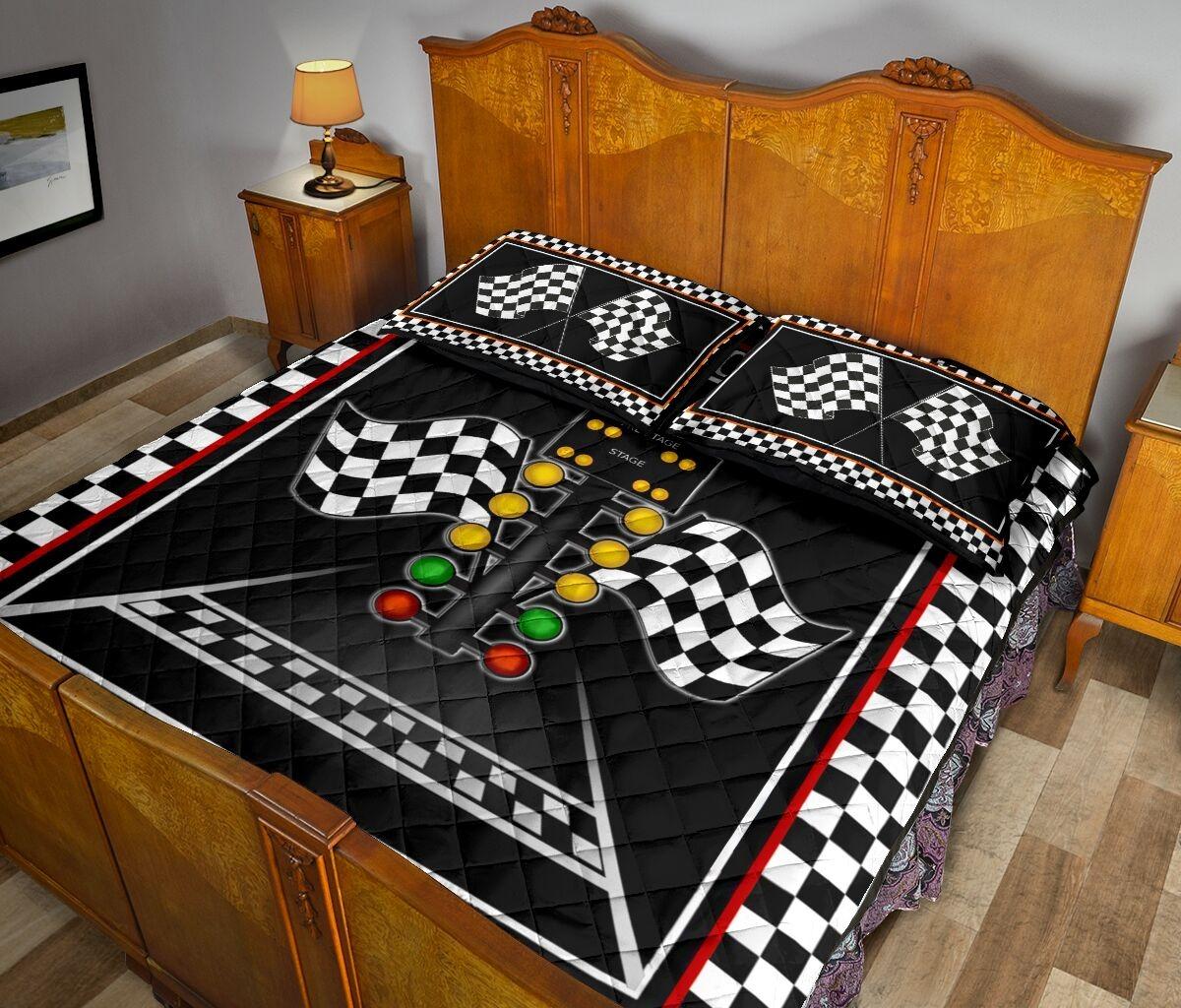Racing flag lights quilt bedding set3