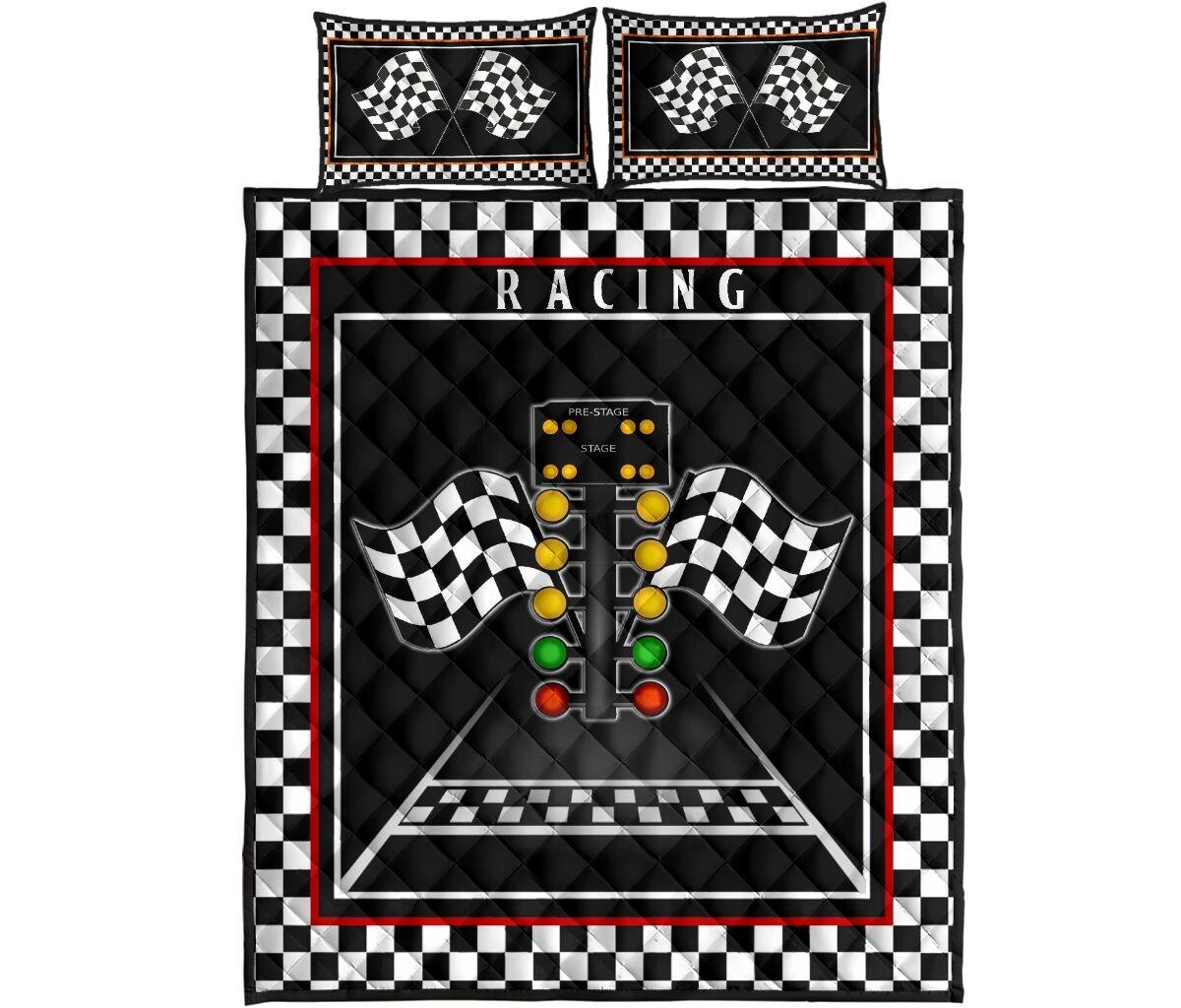 Racing flag lights quilt bedding set4