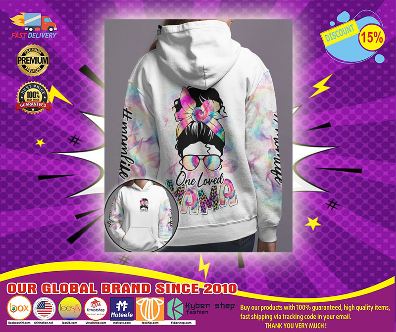 Skull coloful one loved mama 3D hoodie1