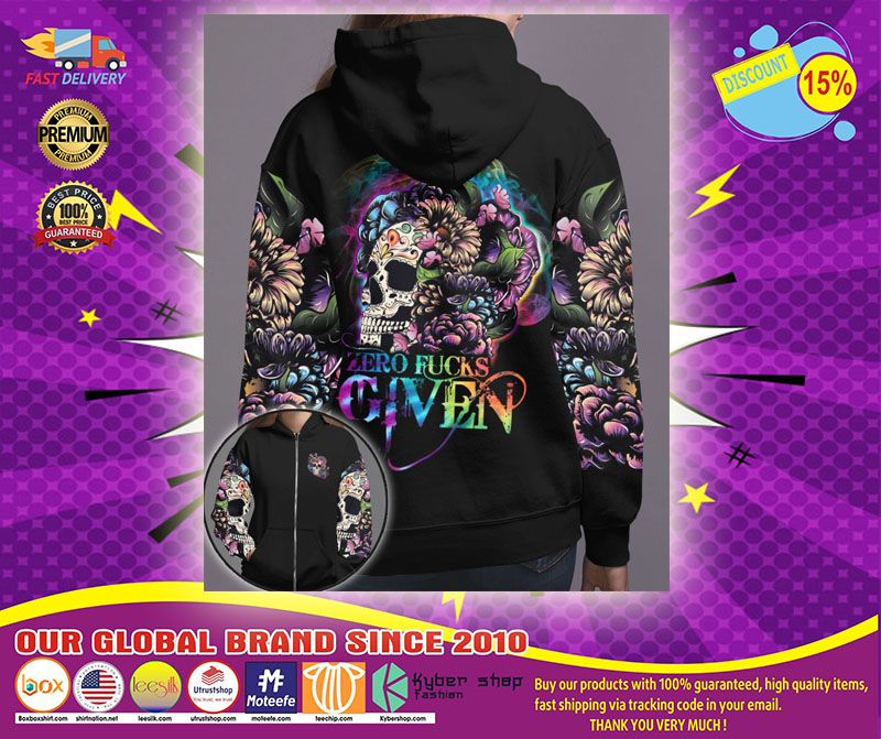 Skull floral zero fucks given 3D hoodie1