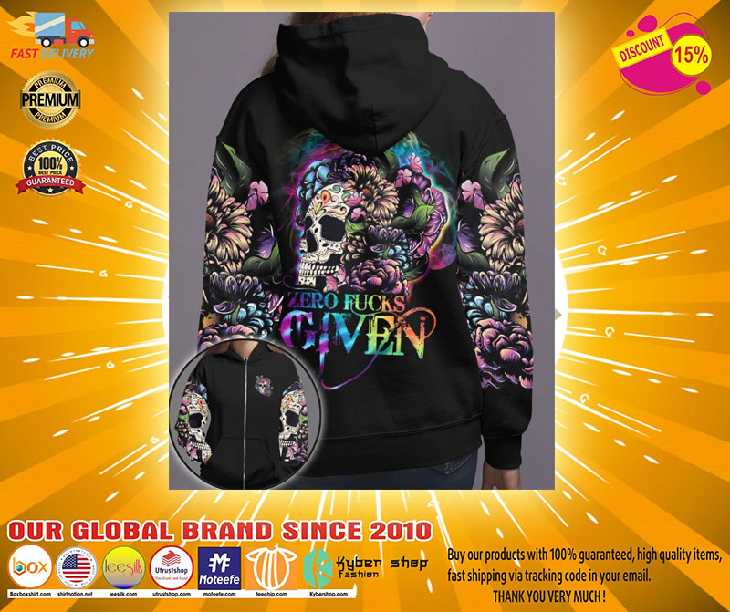 Skull floral zero fucks given 3D hoodie2