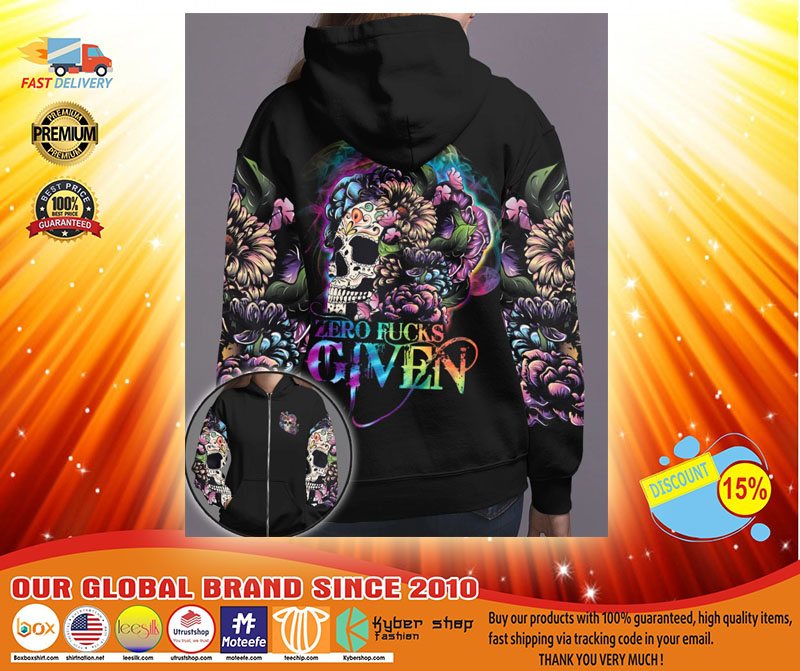 Skull floral zero fucks given 3D hoodie3