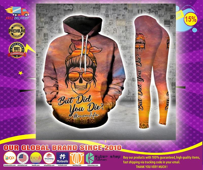 Skull momlife but did you die sunflower 3D hoodie and legging1