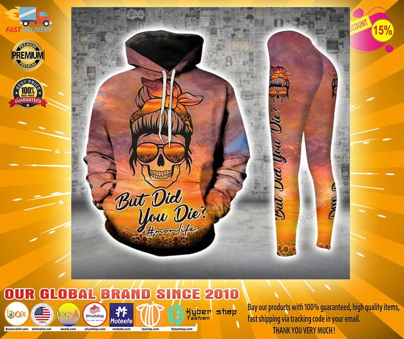 Skull momlife but did you die sunflower 3D hoodie and legging4