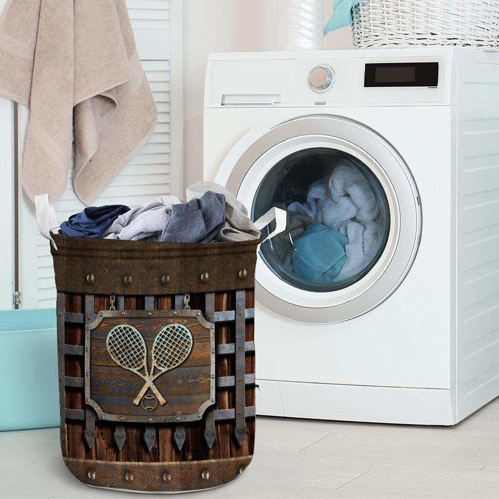 Tennis faux metal print basket laundry3