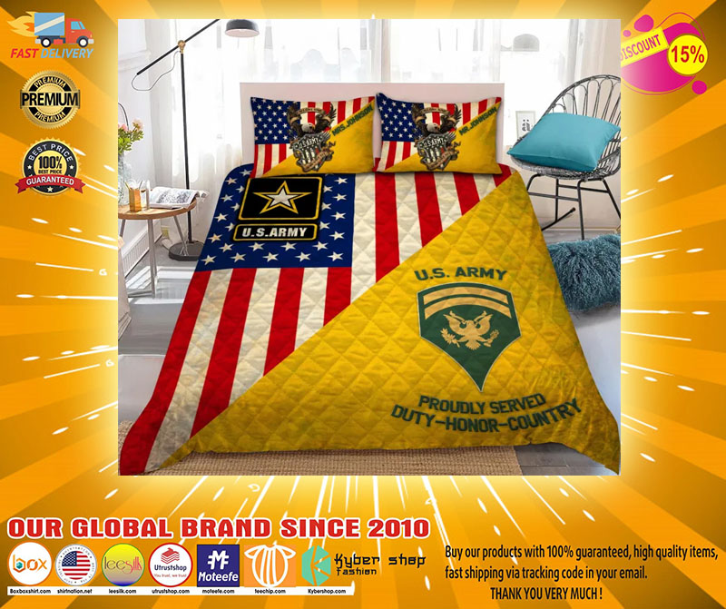 Us army proudly served duty honor country bedding set2
