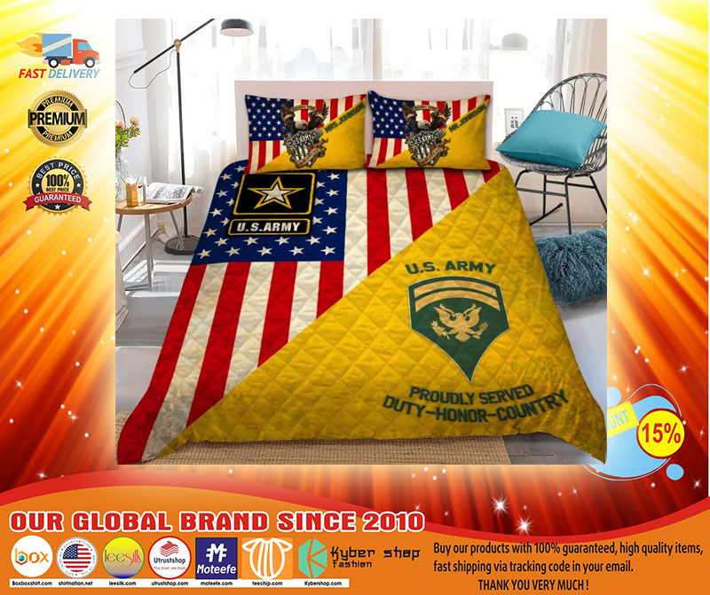 Us army proudly served duty honor country bedding set3