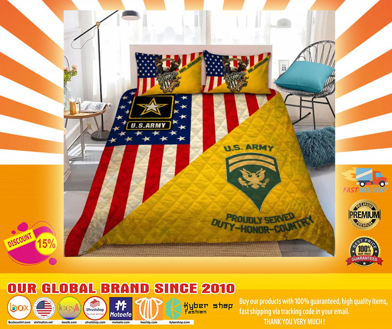 Us army proudly served duty honor country bedding set4