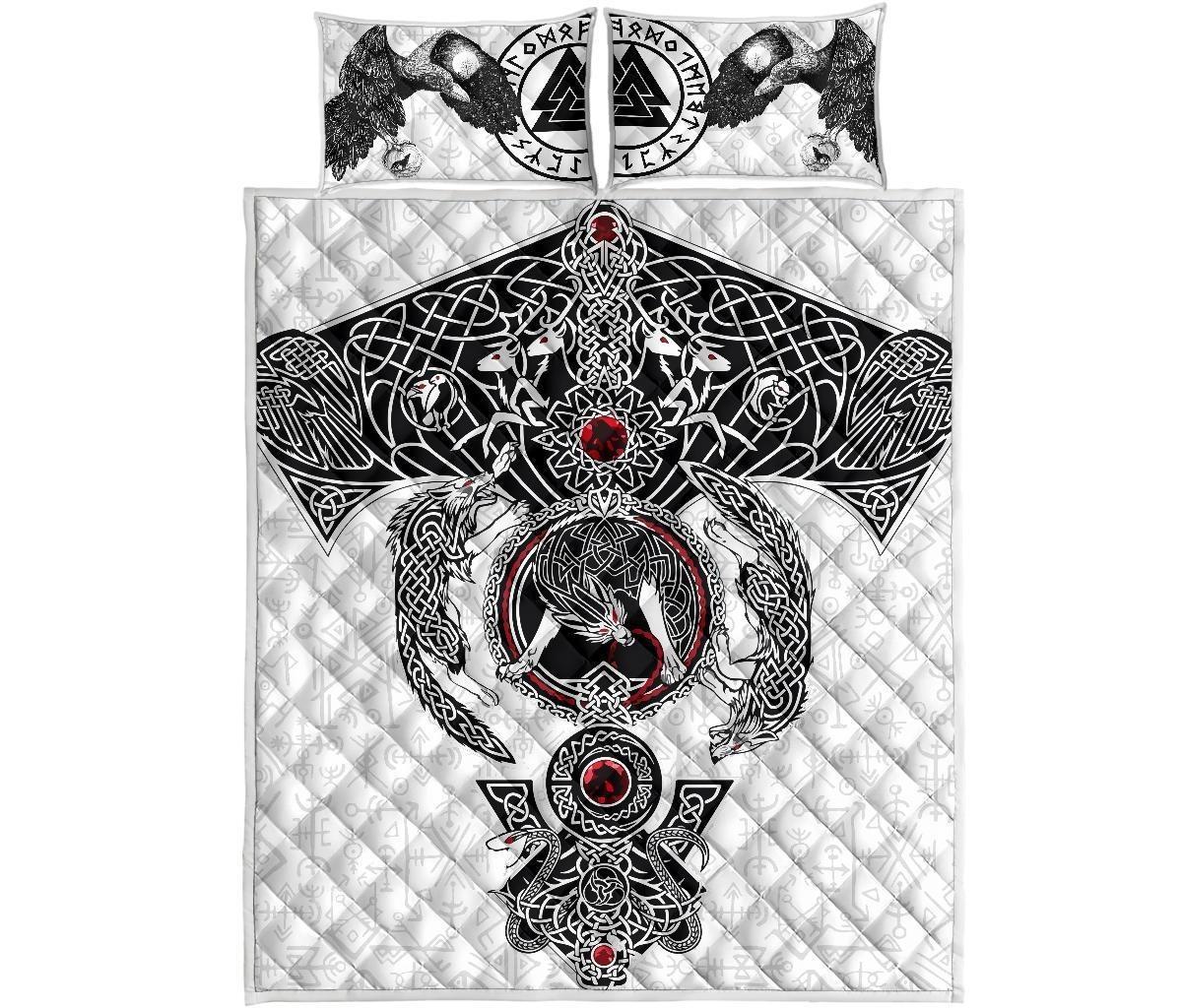 Viking Odins ravens fenrir skoll and hati valknut quilt bedding set2