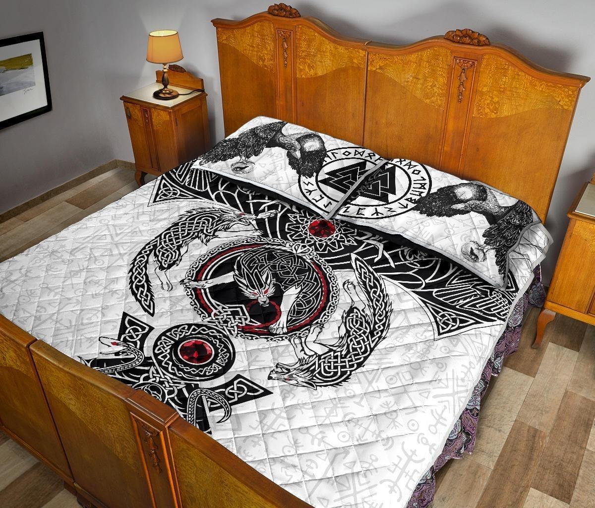 Viking Odins ravens fenrir skoll and hati valknut quilt bedding set4