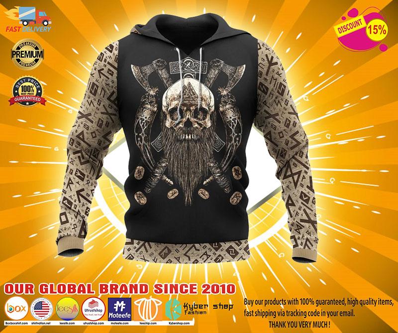 Viking skull beard Valhalla 3D hoodie2
