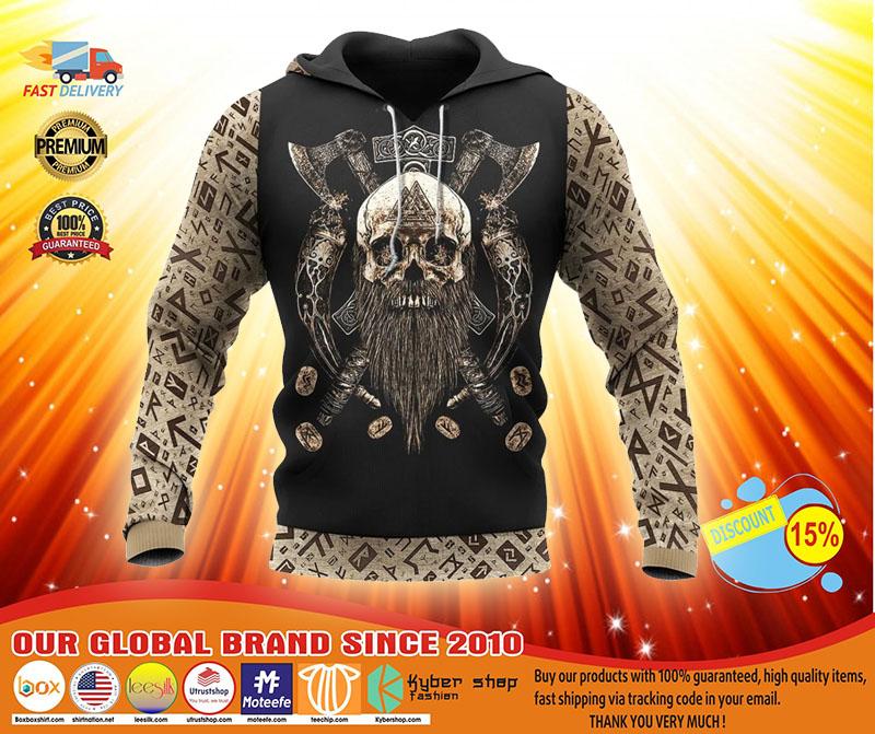 Viking skull beard Valhalla 3D hoodie3