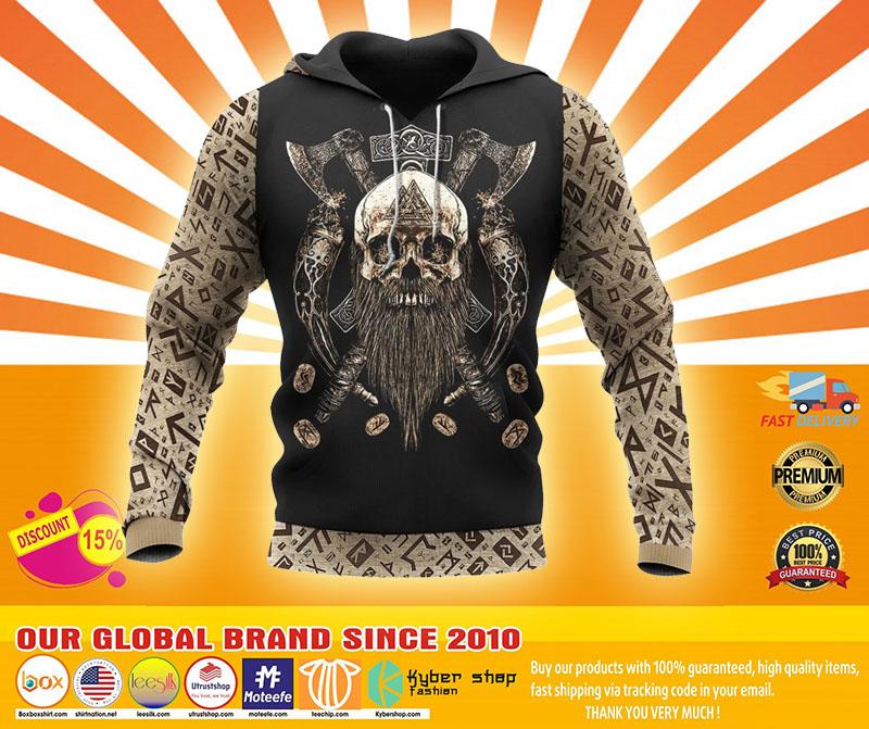 Viking skull beard Valhalla 3D hoodie4