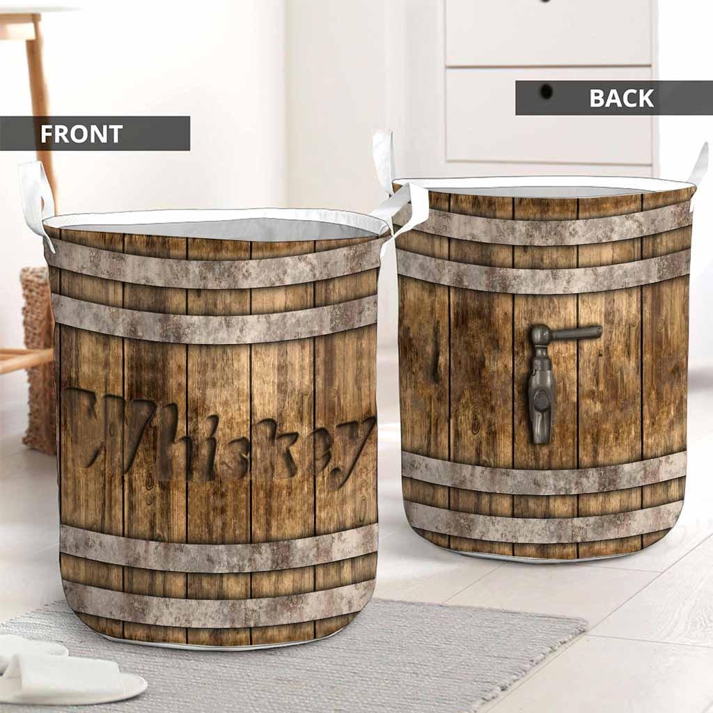 Whiskey faux wood print basket laundry2