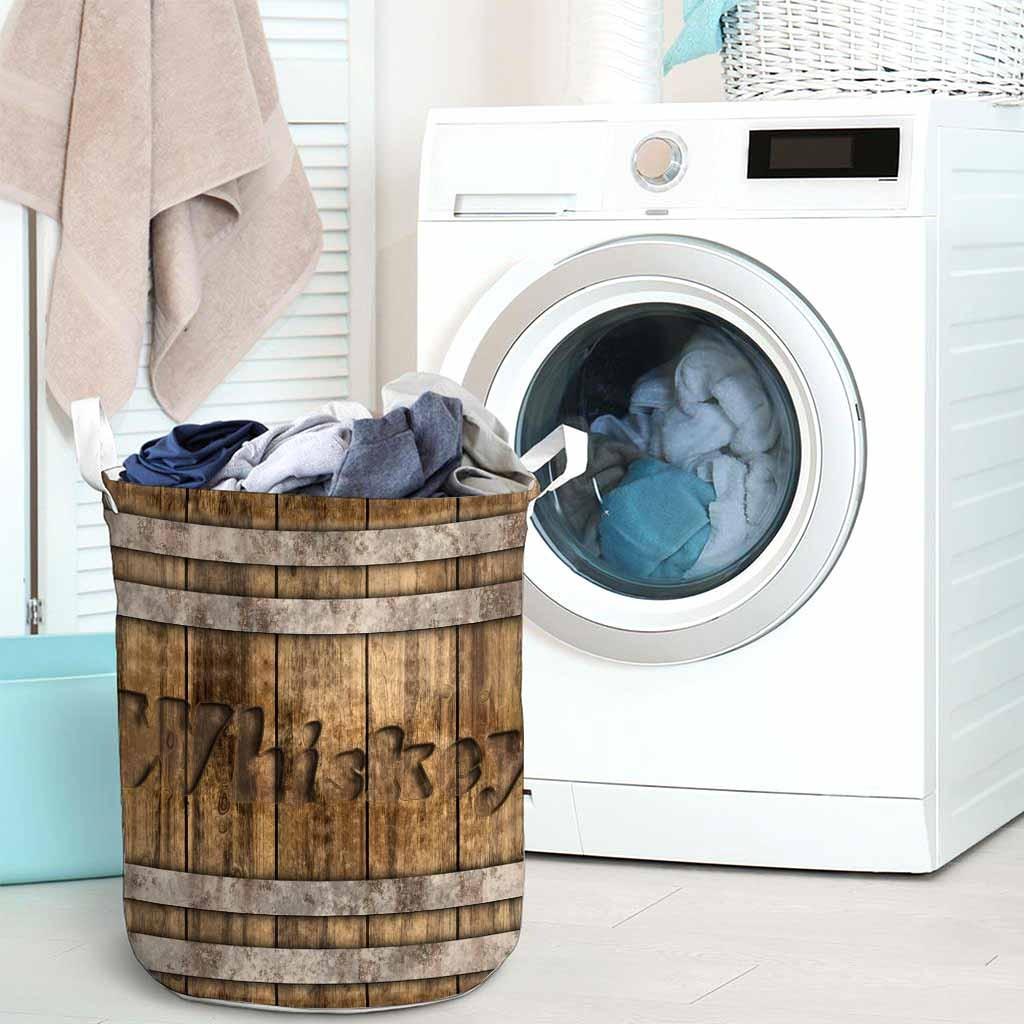 Whiskey faux wood print basket laundry3