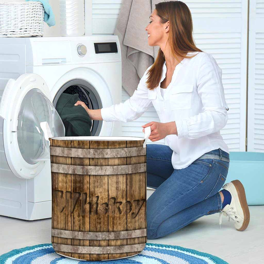 Whiskey faux wood print basket laundry4