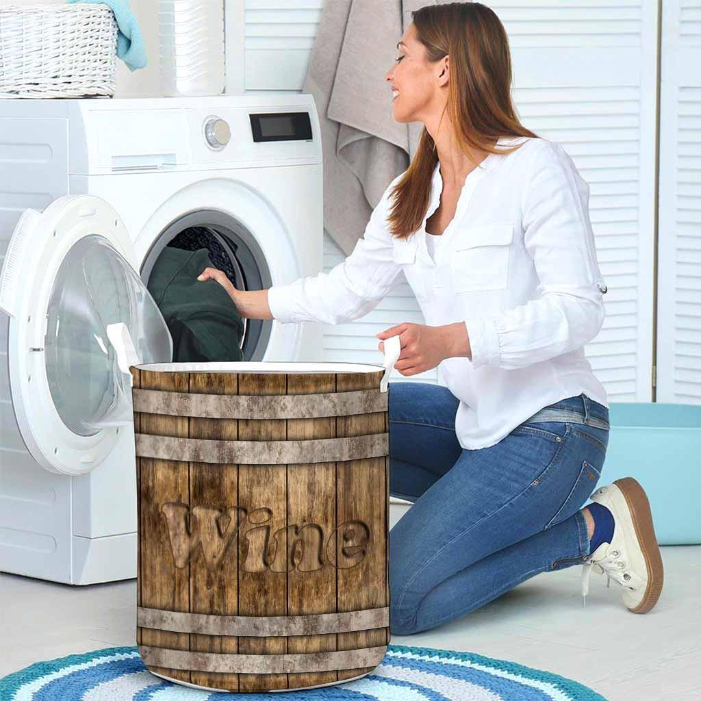Wine faux wood print basket laundry4