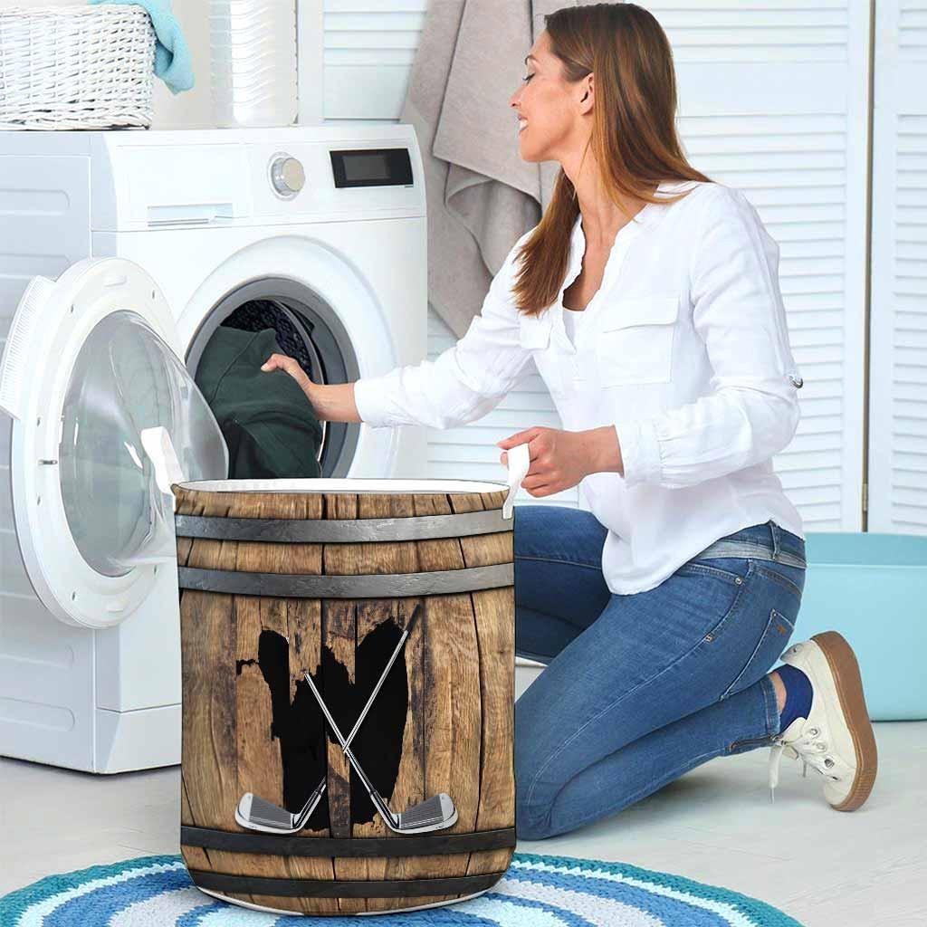 golf faux wood print basket laundry4