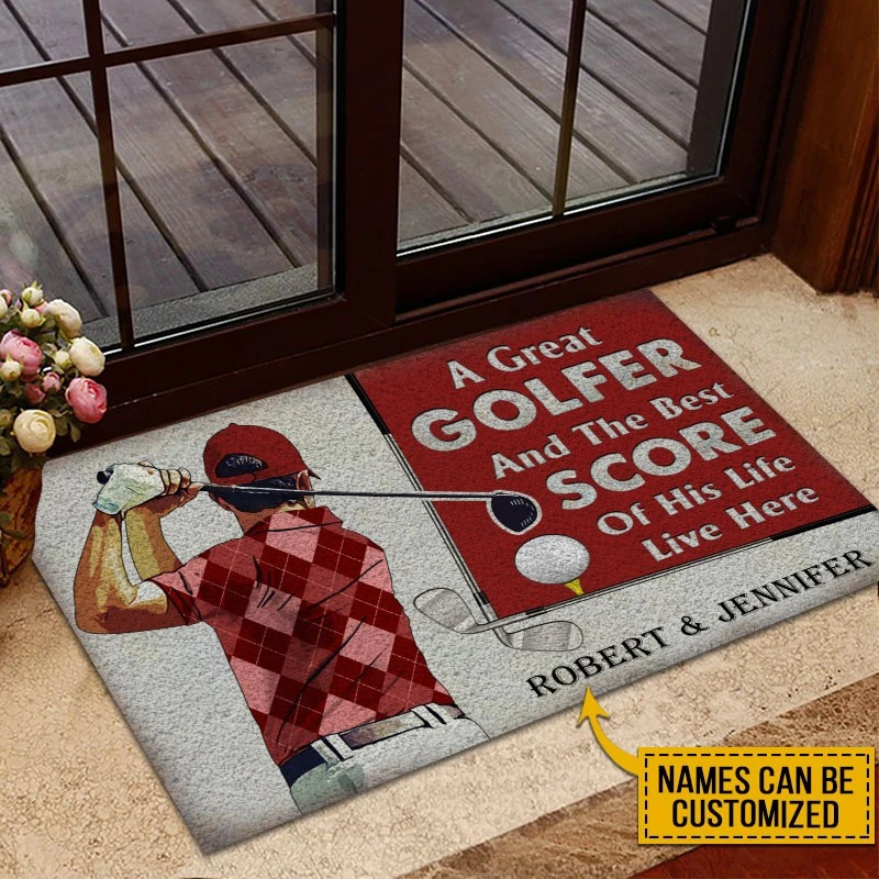 A great golfer and the best score custom name doormat