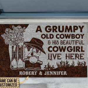 A grumpy old cowboy and his beautiful cowgirl live here custom name doormat