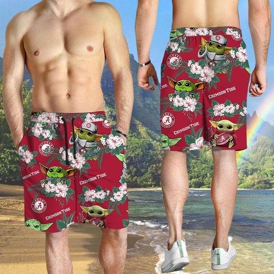 Alabama Crimson Tide And Yoda Hawaiian And Beach Short3