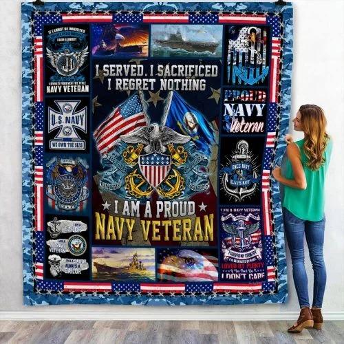 American flag I am a proud Navy veteran quilt bedding set2