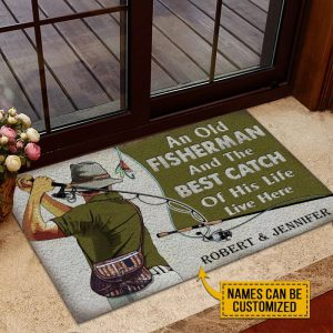 An old fisherman and the best catch of his life live here custom name doormat