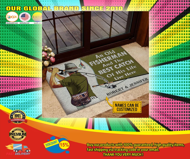 An old fisherman and the best catch of his life live here custom name doormat6