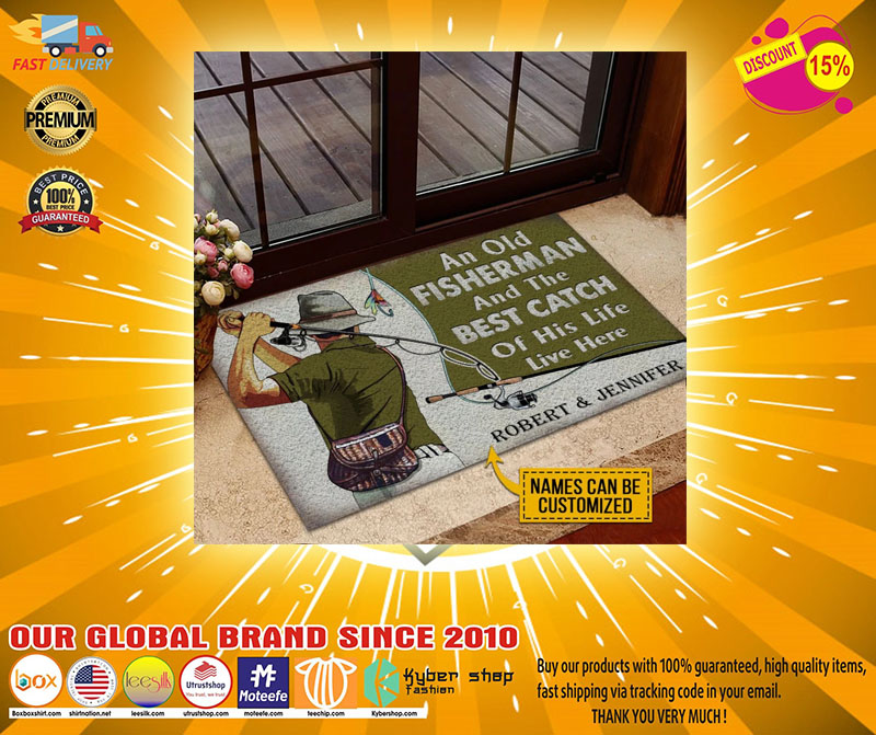 An old fisherman and the best catch of his life live here custom name doormat7