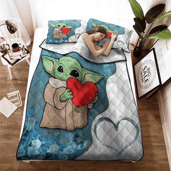 Baby Yoda heart flower quilt bedding set3 1